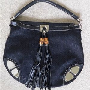 Gucci Black Leather Indy Hobo Purse